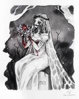 Inktober 2017 - Gloomy Girl #12 - Corpse Bride by Ludmila-Cera-Foce