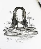 Inktober 2018 - Nature Creature 06 : Waterlily by Ludmila-Cera-Foce
