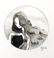 Inktober 2018 - Nature Creature 16 : Mountain by Ludmila-Cera-Foce