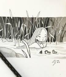 Inktober 2018 - Nature Creature 17 : Ondine by Ludmila-Cera-Foce