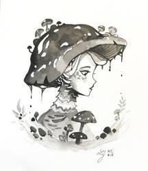 Inktober 2018 - Nature Creature 18 : Mushroom by Ludmila-Cera-Foce