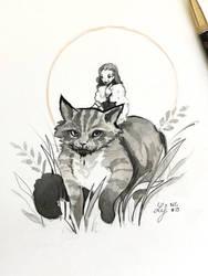 Inktober 2018 - Nature Creature 19 : Wildcat by Ludmila-Cera-Foce