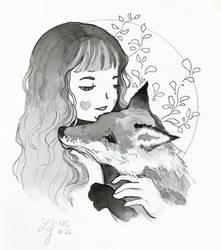 Inktober 2018 - Nature Creature 26 : Fox by Ludmila-Cera-Foce