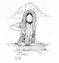 Inktober 2018 - Nature Creature 30 : Water(fall) by Ludmila-Cera-Foce