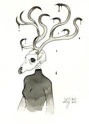 Inktober 2018 - Nature Creature 31 : Deer by Ludmila-Cera-Foce