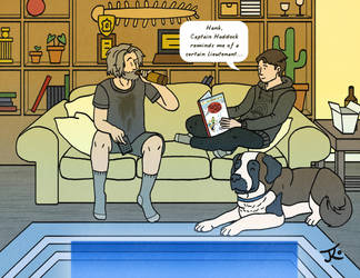 Hank and Connor on the Sofa by Katy133