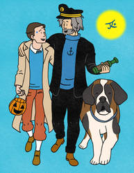 Connor and Hank Dressed as Tintin and Haddock by Katy133