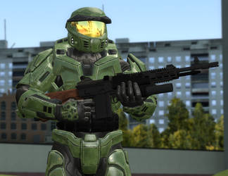 Master Chief with M5A2 Carbine by DBuilder