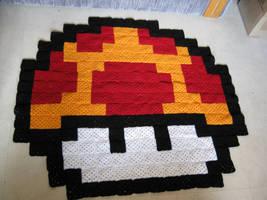 Classic Mushroom Pixel Blanket by LunarJadeStyles