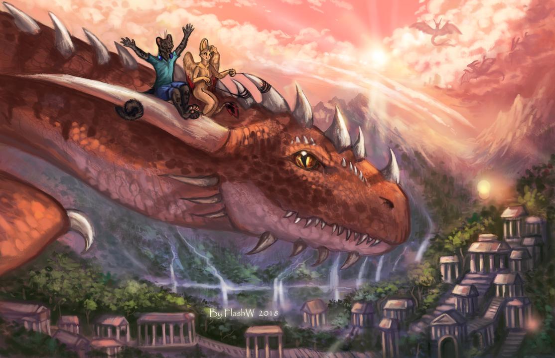 Dragon Flying by FlashW
