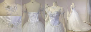 White and Silver Wedding Gown by Firefly-Path