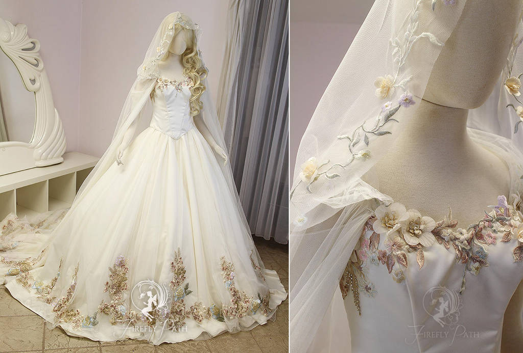 Wedding Gown With Cape: Floral Princess Bridal Gown And Cape By Firefly-Path On