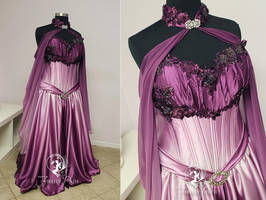 Petal Pink and Plum Elven Bridal Gown by Firefly-Path
