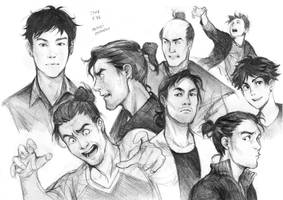 Male characters sketches by Razurichan
