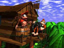 Diddy Kong and Donkey Kong by SoapyDonkeyK