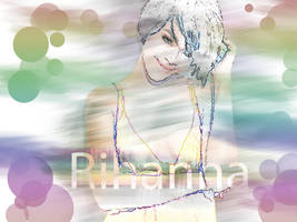 rihanna colored pencil effect by Goldphishy