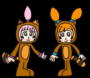 WarioWare: Kat and Ana in Tanooki suits by Luqmandeviantart2000