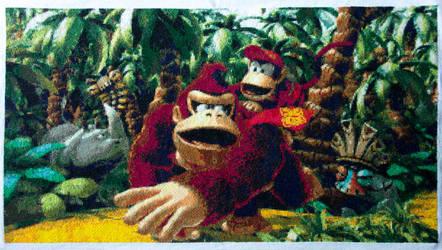 Donkey Kong Country Returns - Cross Stitch by darkbeanou