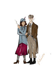 Peaky Blindered Ron and Hermione by sputnikova