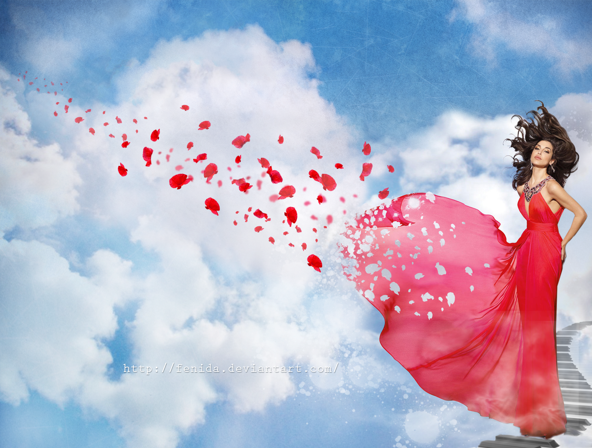 The lady in red and the wind by fenida