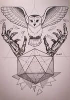 Owl and skeleton hands / Tattoo design by SpidersOnYourHead