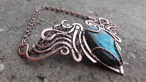 Wire wrapped statement necklace with Labradorite by TangledWorld