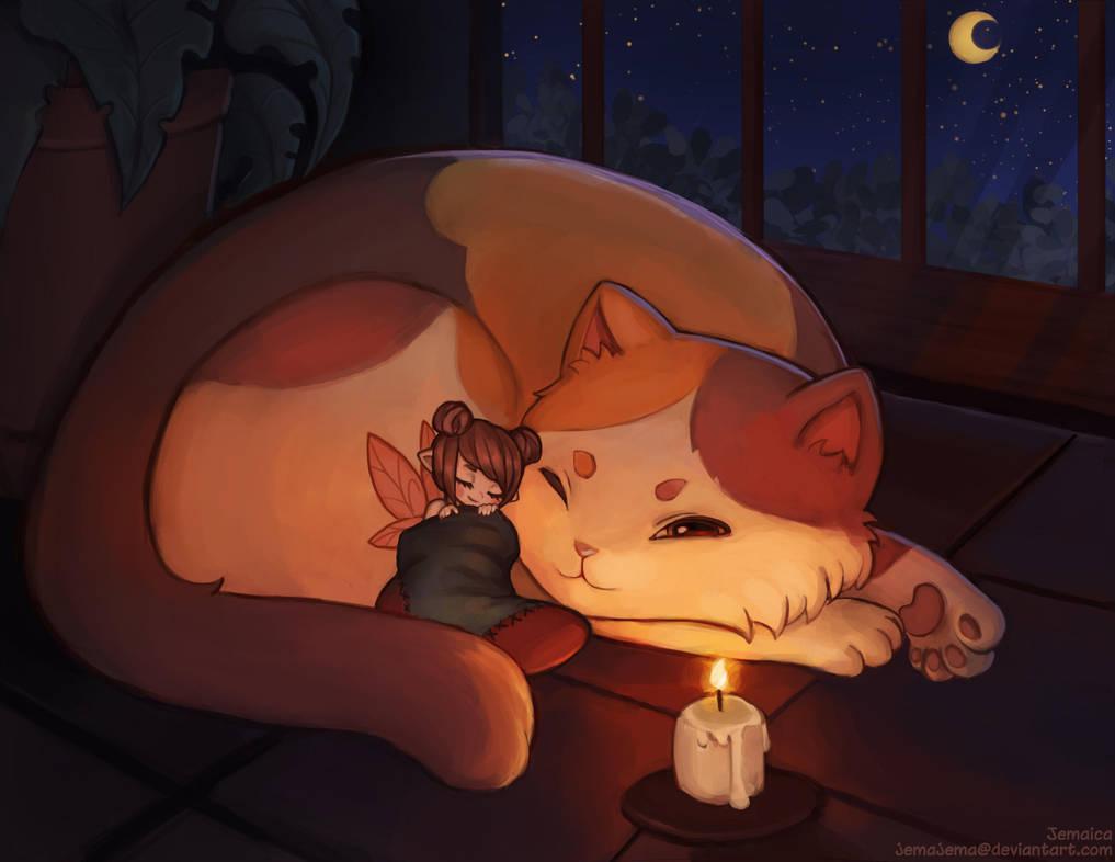 Candlelit nap by jemajema