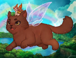 Flying Fairy Cat! for Cats and Fairies Calendar by jemajema