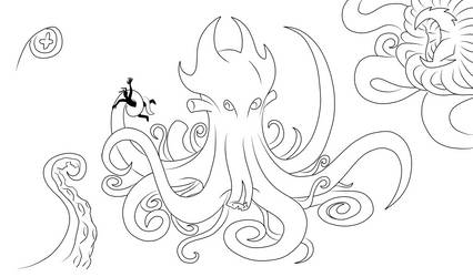 Kraken Scribbles by bunnywithmonocle