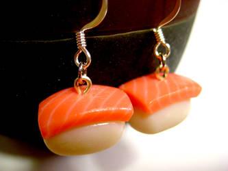 Mini salmon earrings by lava-tomato