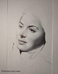 Ballpoint pen drawing in progress - Ingrid Bergman by poletaevart