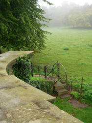 Gate on misty pastures by morneson