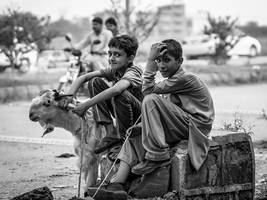 Young Goat Sellers by InayatShah