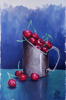 Cherries (Still Life Painting) by dbcalag