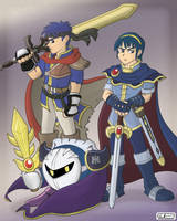 Ike, Marth + Metaknight Poster by StacMaster-S
