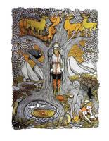 Odin on Yggdrasill by Hellanim