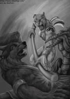 Lioness vs wolf by EosFoxx
