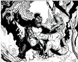 King Kong vs T-Rex by NickMockoviak