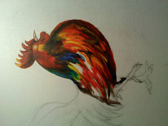 progress on my rooster canvas by whatiff4