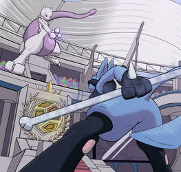 Mewtwo Vs. Lucario by SnagBack