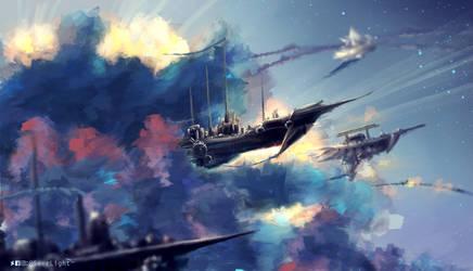 SkyShip Dusk by SeerLight
