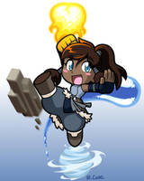 Chibi Korra bending all four elements by rongs1234