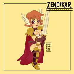 Pela Dina, Half Elf Paladin by Gwydionland