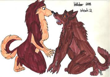 Inktober2018: BaltoxJenna Werewolf by TheLastUnicorn1985