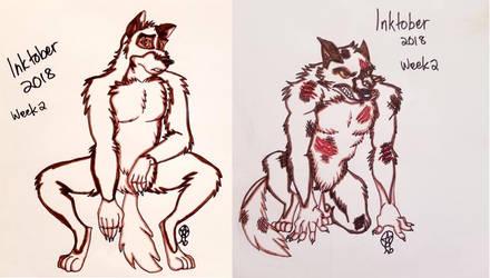 Inktober2018: Balto as a Werewolf by TheLastUnicorn1985