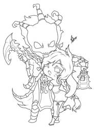 Lineart Thresh and Ahri by M4gnusOmega