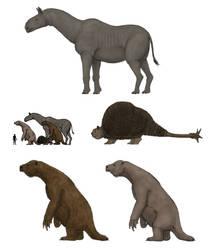 Prehistoric megafaunal mammals by Dragonthunders