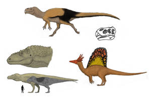 The Redesigned Dinosaurs, some theropods by Dragonthunders