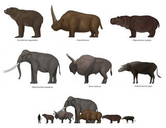 Prehistoric megafaunal mammals 2 by Dragonthunders