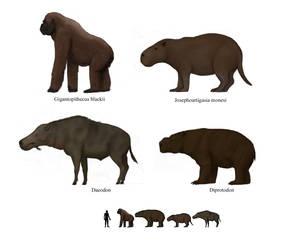 Prehistoric megafaunal mammals 3 by Dragonthunders